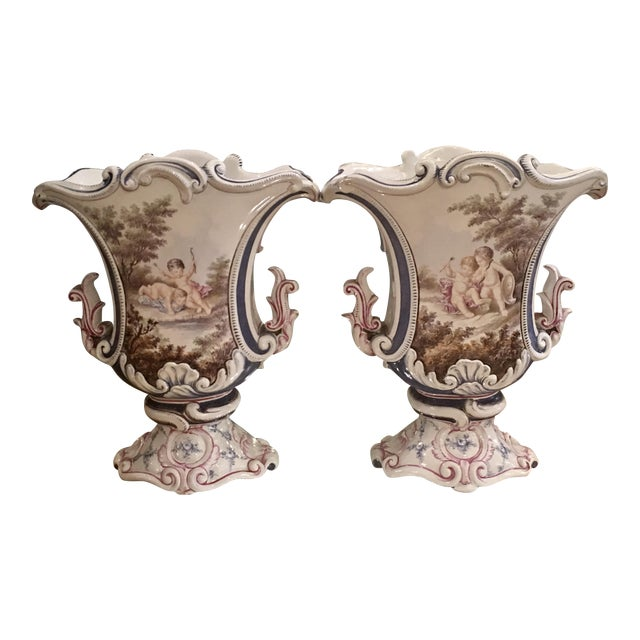Image of Pair of Antique Italian Faience Potter Vases w Angels