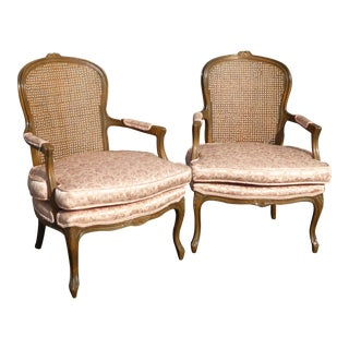 Vintage French Provincial Cane Back Chairs - A Pair
