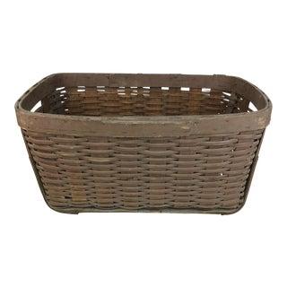 Antique Primitive Braced Woven Wood Gathering Basket