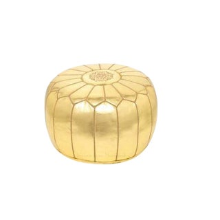 Moroccan Gold Metallic Embroidered & Stuffed Leather Pouf [Stuffed]