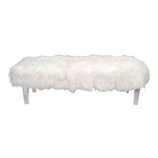 Tibetan Sheepskin Bench with Lucite Legs