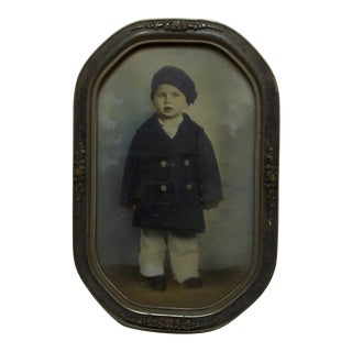 "Vintage Bubble Glass Framed Photograph ""Little Boy"", 1920"