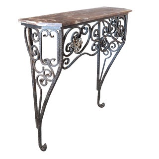 Fer Forge Console Table with Marble Top