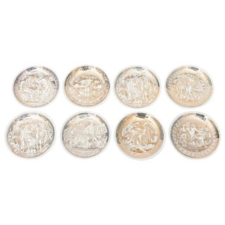 "Complete Set of Eight Italian Fornasetti Gilded Porcelain ""Mitologia"" Coasters"