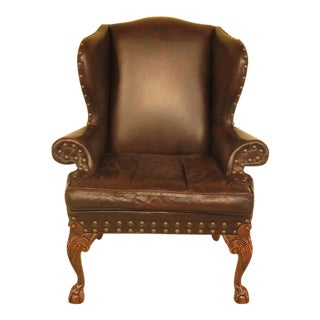 Antique Tannery Leather Clawfoot Wing Chair