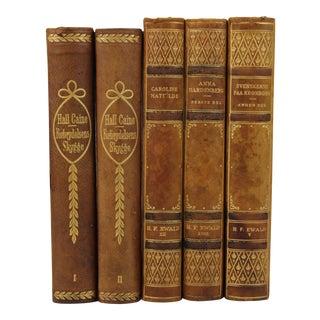 Art Deco Leather-Bound Books - Set of 5