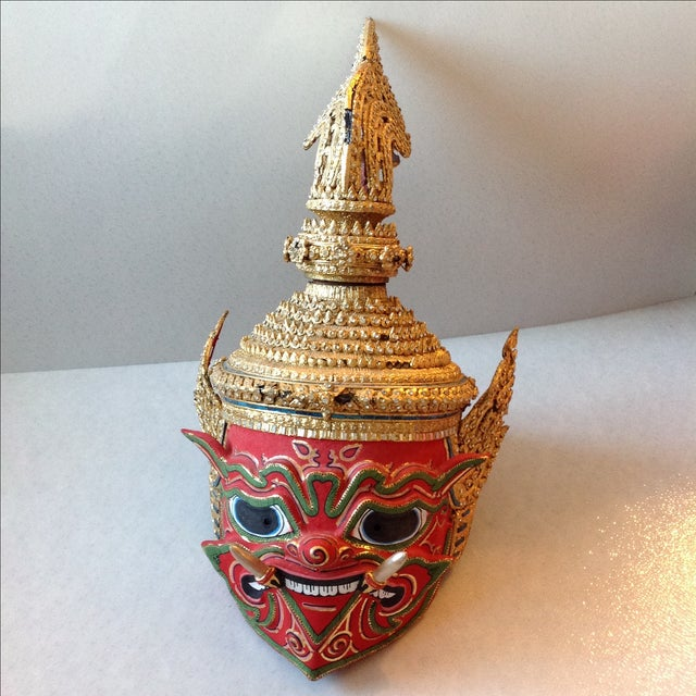 Antique Thai Demon Khon Mask - Image 2 of 11