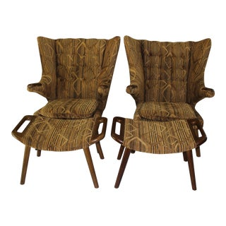 After Hans Wagner Papa Bear Chairs & Ottomans- A Pair