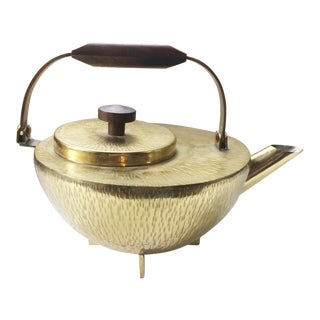 Brass Plated Modernist Textured Teapot