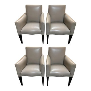 Donghia Leather Serpentine Armchairs - Set of 4