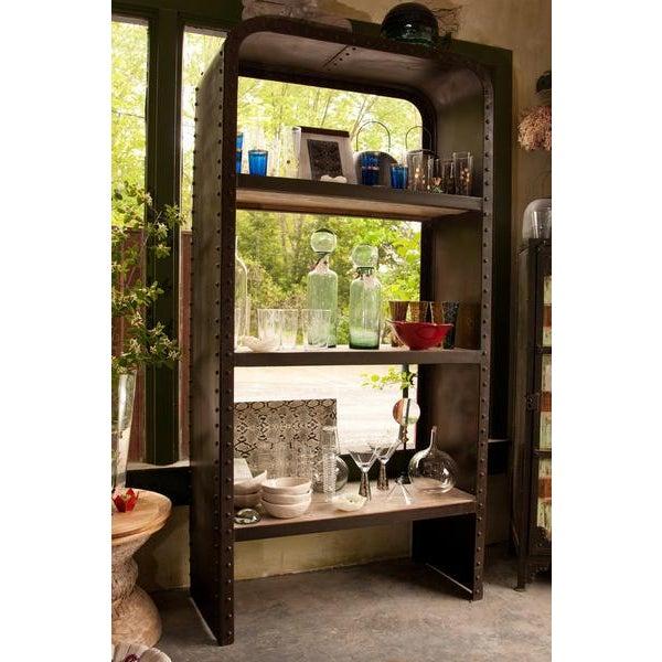 Industrial Steel & Teak Bookcase - Image 3 of 4
