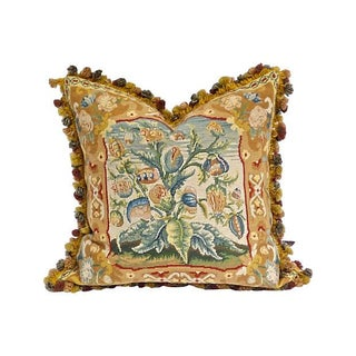 Vintage French Floral Aubusson Pillow