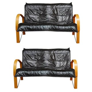 Mid-Century Scandinavian Bentwood & Leather Sofas - A Pair
