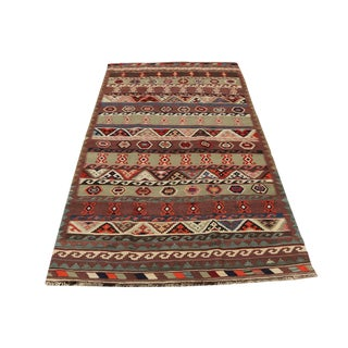 Persian Gaschgai Vegetable Dyed Wool Kilim - 4′6″ × 7′11″