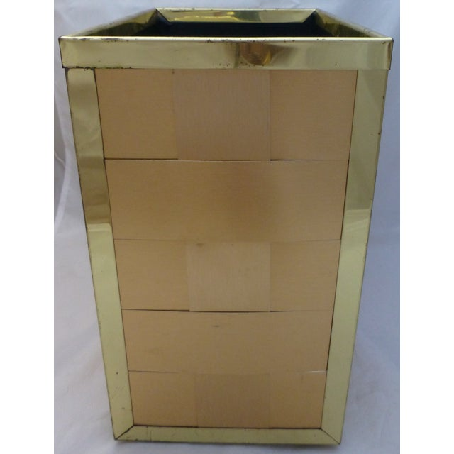 Image of Retro Gold Toned Waste Basket and Tissue Cover