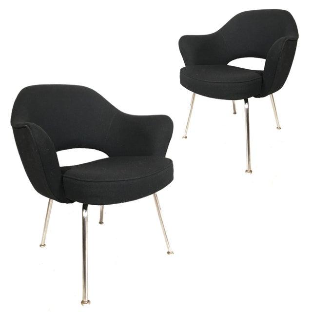 Knoll Eero Saarinen Executive Armchairs in Knoll Black Upholstery - a Pair - Image 4 of 4