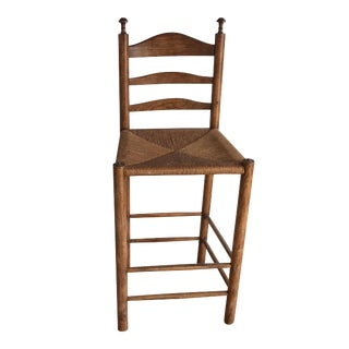 Vintage Turned Wood Woven Rush Counter Stool