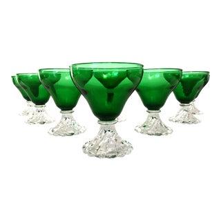 Vintage Emerald Cocktail Glasses - Set of 8