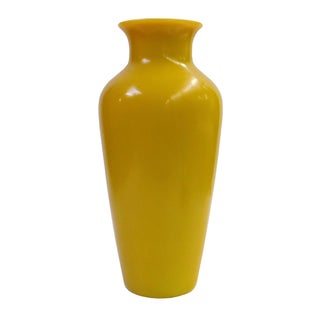 Solid Yellow Peking Glass Accent Vase