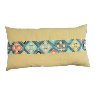 Hand-Woven Yellow Pillow With Brocade