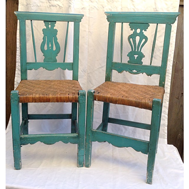 Handmade Teal & Rush Seat Mexican Chairs - A Pair - Image 2 of 3