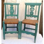 Image of Handmade Teal & Rush Seat Mexican Chairs - A Pair