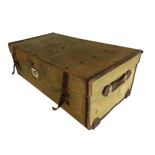 Old English Military Canvas & Leather Trunk