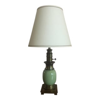 Celadon Green Ceramic & Brass Lamp by Stiffel