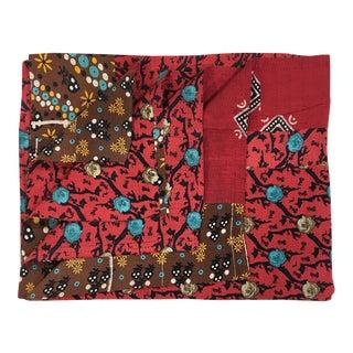 Roses on Red Vintage Kantha Quilt