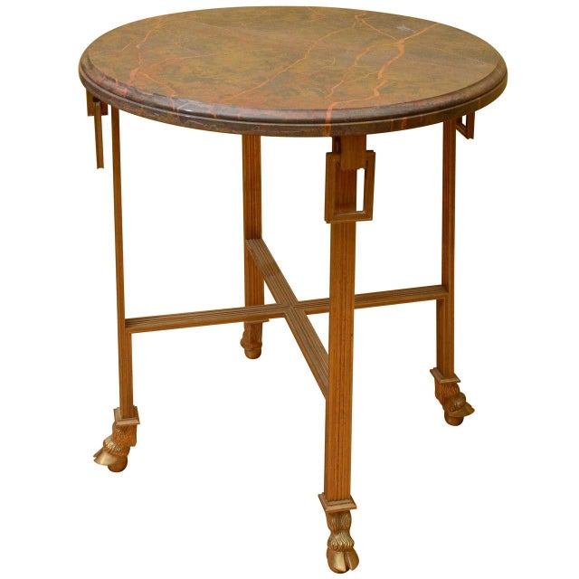 Image of French Marble Top Side Table with Bronze Base