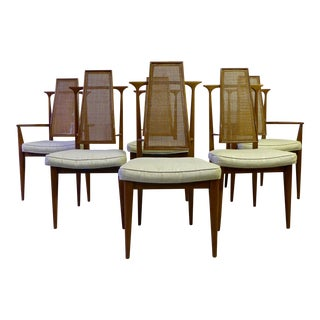 Mid-Century Caned Dining Chairs - Set of 6