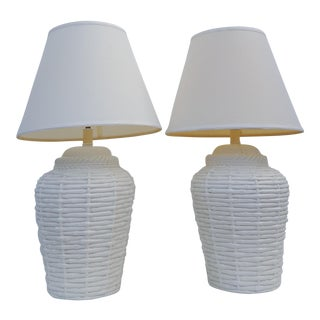 John Dickinson Style Faux Bamboo woven Baskets Table Lamps A Pair
