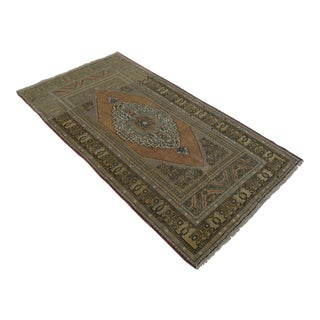 "Hand-Knotted Vintage Faded Area Rug - 4'10"" x 9'3"""