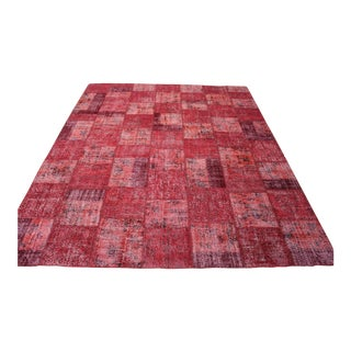 Turkish Anatolian Red Patchwork Overdyed Rug - 9′4″ × 12′