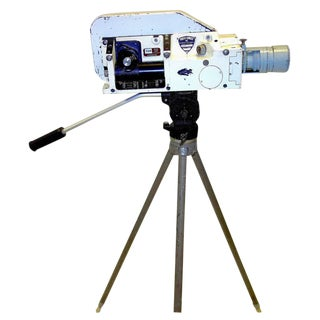 Military Analysis Cinema Camera. Circa Mid 20th Century. Display As Sculpture. On Vintage Tripod.
