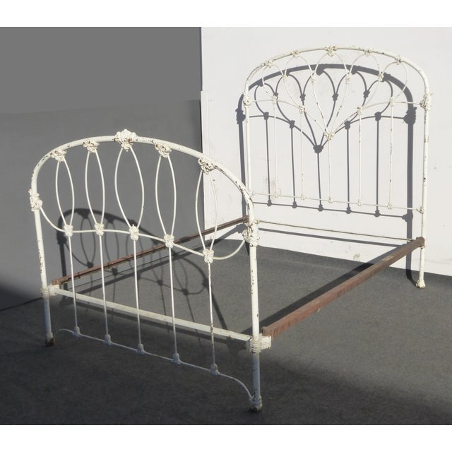 Antique French Country Full Iron Bed Frame Farmhouse Chic Headboard - Image 2 of 11