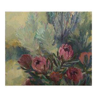 """Dusky Proteas"", Original Oil on Canvas, Jenny Parsons, South Africa, 2012"