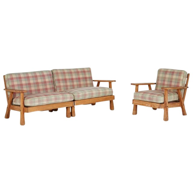 A. Brandt Ranch Textured Oak Seating Set - Image 1 of 9