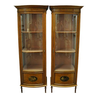 Early 20th Century Painted Mahogany Vitrines - a Pair