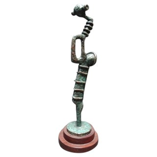 Carl Lewis Pappe Abstract Bronze Sculpture