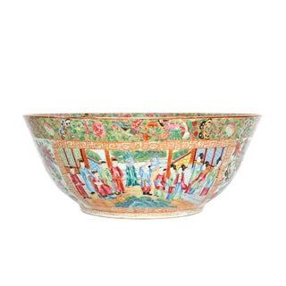 A Large 'Canton Famille Rose' Punch Bowl Mid-19th Century
