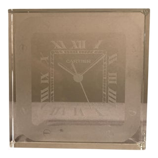 Cartier Embossed Crystal Clock Paperweight