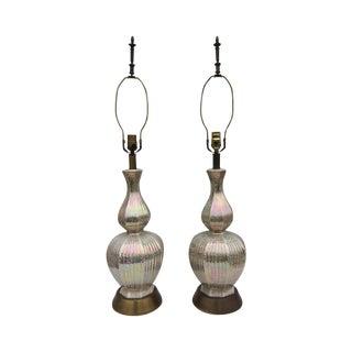 1950s Iridescent Ceramic Lamps - A Pair