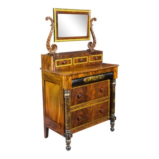 Classical Gilt Bureau with Stenciling & Wood Pulls