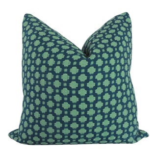 "Schumacher Betwixt in Indigo Decorative Pillow Cover - 20"" x 20"""