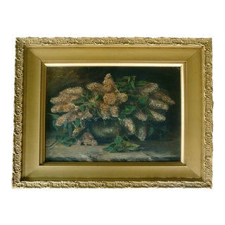 """28"""" Framed Antique Oil Painting Bowl of Lilacs"""