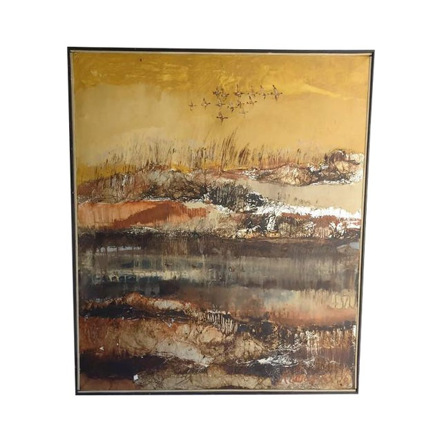 Large Vintage Abstract Woodland Canvas Art - Image 1 of 7