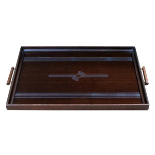 A Chic English Art Deco Mahogany Rectangular Tray with Mirrored Decoration