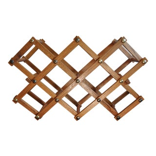 1960's Oak and Brass Folding Wine Storage Rack