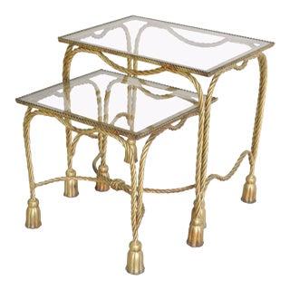 Vintage Italian Hollywood Regency Gilt Metal Rope Tassel Nesting Side Table - a Pair